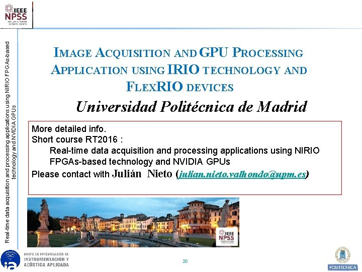 Real-time data acquisition and processing applications using NIRIO FPGAs-based technology and NVIDIA GPUs IMAGE