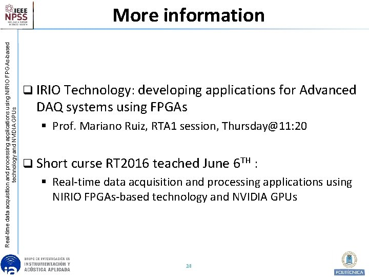 Real-time data acquisition and processing applications using NIRIO FPGAs-based technology and NVIDIA GPUs More