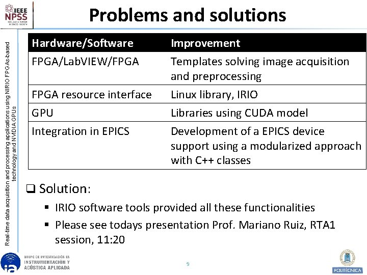 Real-time data acquisition and processing applications using NIRIO FPGAs-based technology and NVIDIA GPUs Problems