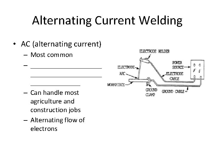 Alternating Current Welding • AC (alternating current) – Most common – ____________________ – Can