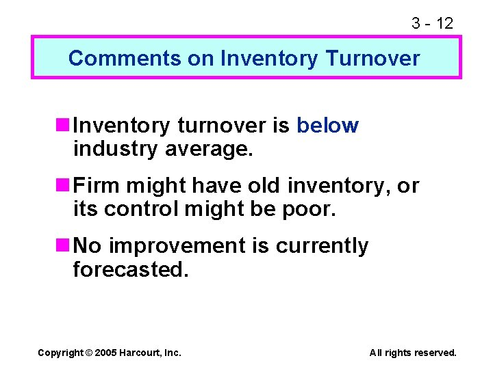 3 - 12 Comments on Inventory Turnover n Inventory turnover is below industry average.