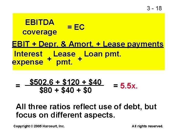 3 - 18 EBITDA coverage = EC EBIT + Depr. & Amort. + Lease
