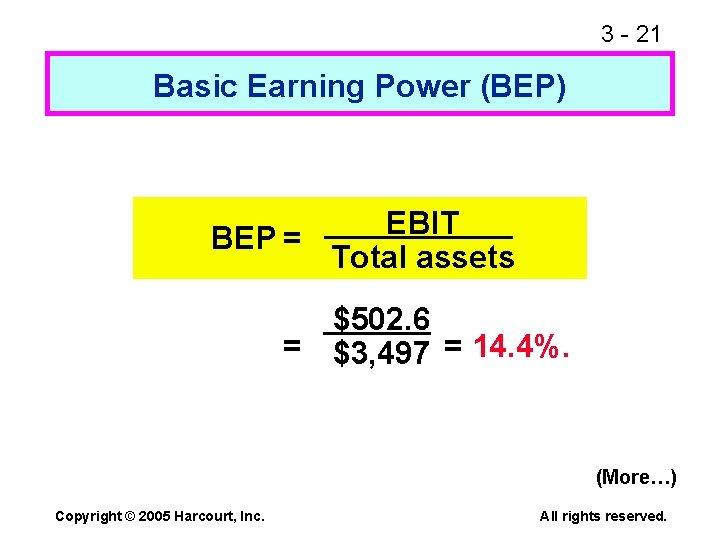 3 - 21 Basic Earning Power (BEP) EBIT BEP = Total assets $502. 6