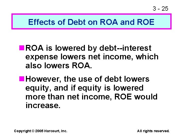 3 - 25 Effects of Debt on ROA and ROE n ROA is lowered