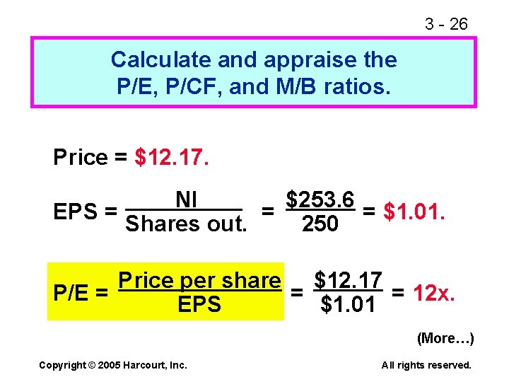 3 - 26 Calculate and appraise the P/E, P/CF, and M/B ratios. Price =