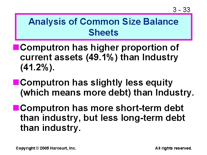 3 - 33 Analysis of Common Size Balance Sheets n Computron has higher proportion