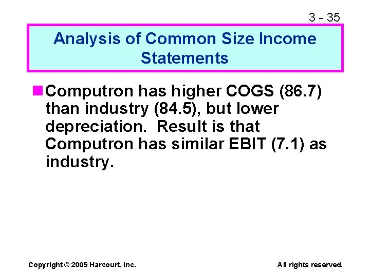 3 - 35 Analysis of Common Size Income Statements n Computron has higher COGS