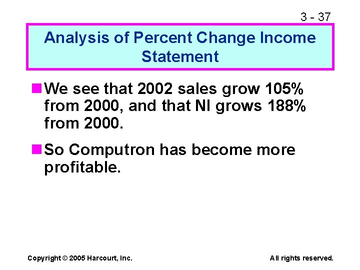 3 - 37 Analysis of Percent Change Income Statement n We see that 2002