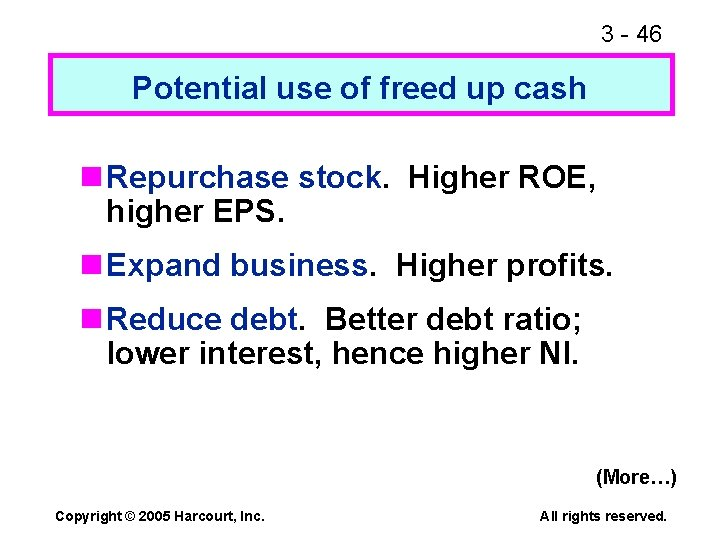 3 - 46 Potential use of freed up cash n Repurchase stock. Higher ROE,