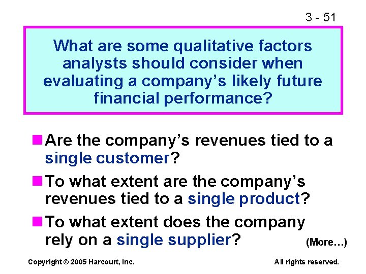 3 - 51 What are some qualitative factors analysts should consider when evaluating a