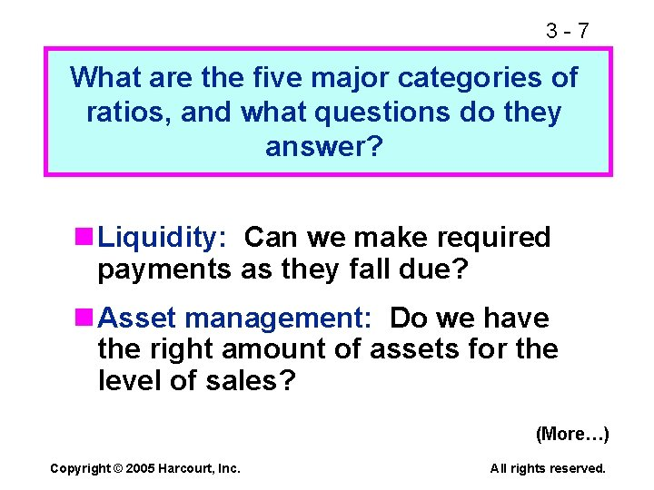 3 -7 What are the five major categories of ratios, and what questions do