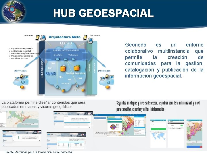 HUB GEOESPACIAL Geonodo es un entorno colaborativo multiinstancia que permite la creación de comunidades