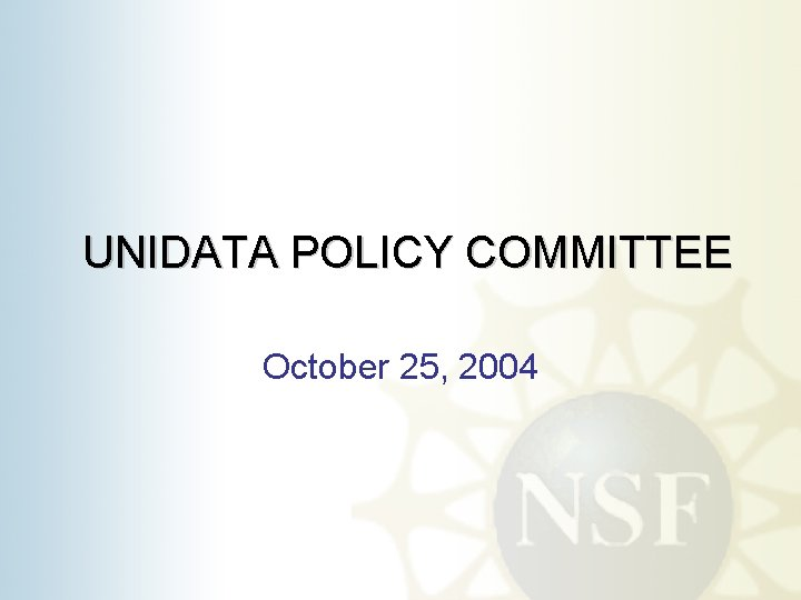 UNIDATA POLICY COMMITTEE October 25, 2004
