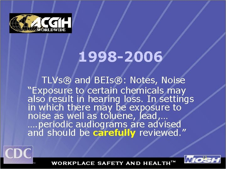 """1998 -2006 TLVs® and BEIs®: Notes, Noise """"Exposure to certain chemicals may also result"""