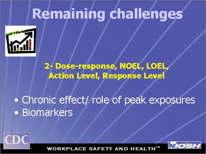 Remaining challenges 2 - Dose-response, NOEL, LOEL, Action Level, Response Level • Chronic effect/