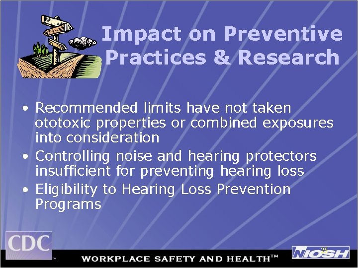 Impact on Preventive Practices & Research • Recommended limits have not taken ototoxic properties