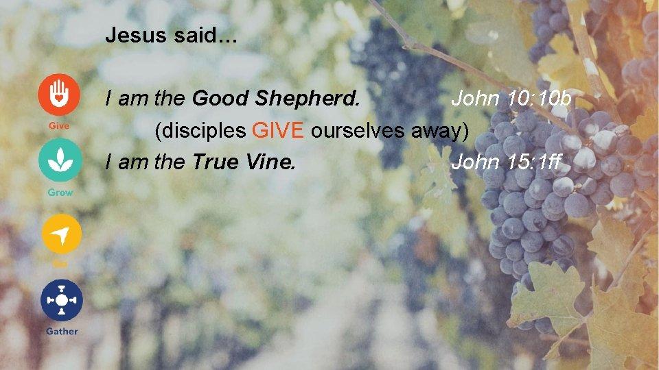 Jesus said… I am the Good Shepherd. John 10: 10 b (disciples GIVE ourselves