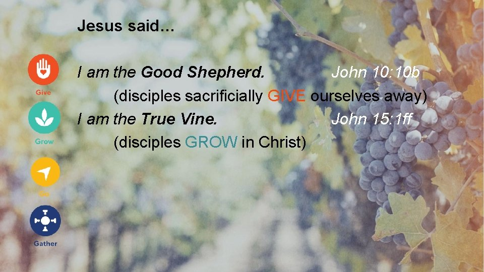 Jesus said… I am the Good Shepherd. John 10: 10 b (disciples sacrificially GIVE