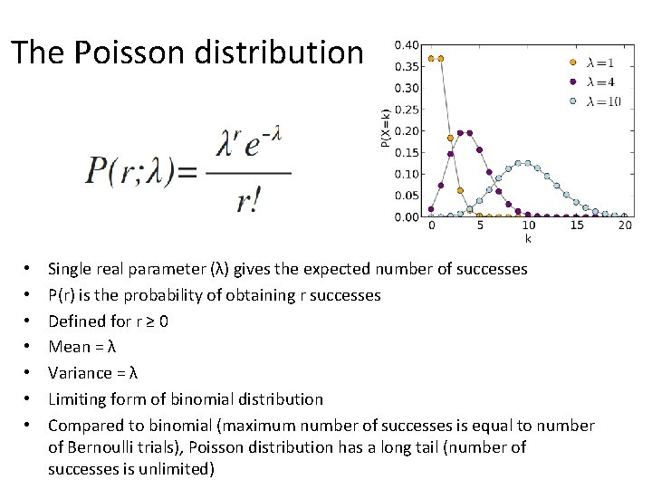 The Poisson distribution • • Single real parameter (λ) gives the expected number of