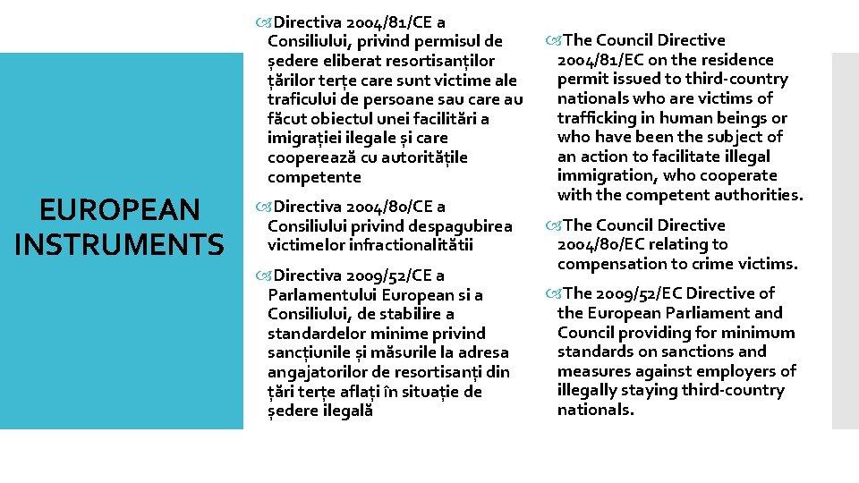 EUROPEAN INSTRUMENTS Directiva 2004/81/CE a The Council Directive Consiliului, privind permisul de 2004/81/EC on