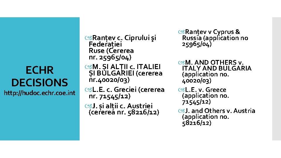 ECHR DECISIONS http: //hudoc. echr. coe. int Ranțev c. Ciprului şi Federației Ruse (Cererea