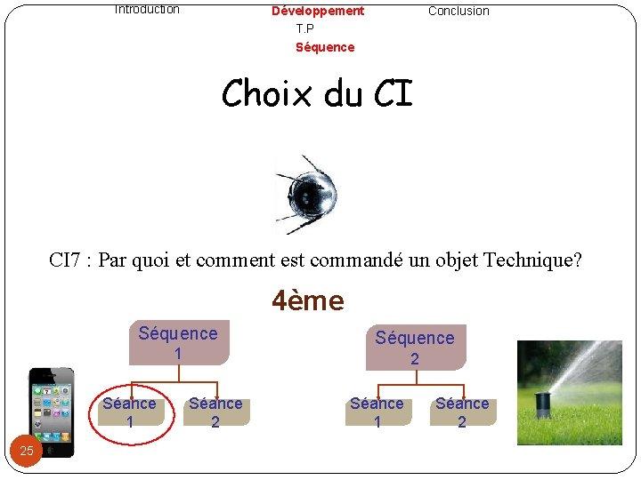 Introduction Développement T. P Séquence Conclusion Choix du CI 7 : Par quoi et