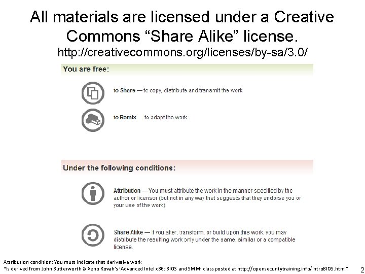 """All materials are licensed under a Creative Commons """"Share Alike"""" license. http: //creativecommons. org/licenses/by-sa/3."""