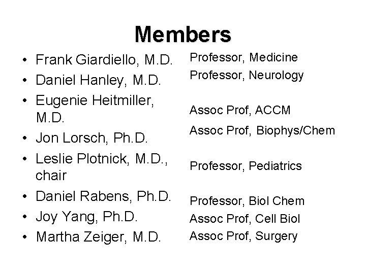 Members • Frank Giardiello, M. D. • Daniel Hanley, M. D. • Eugenie Heitmiller,