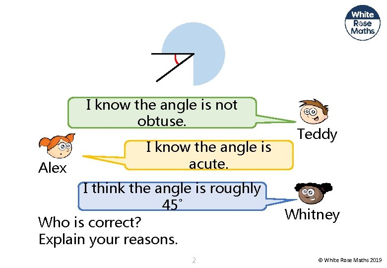 I know the angle is not obtuse. Alex I know the angle is acute.