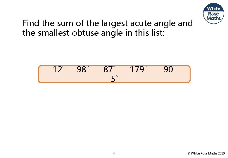 Find the sum of the largest acute angle and the smallest obtuse angle in