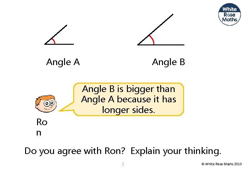 Angle A Angle B is bigger than Angle A because it has longer sides.