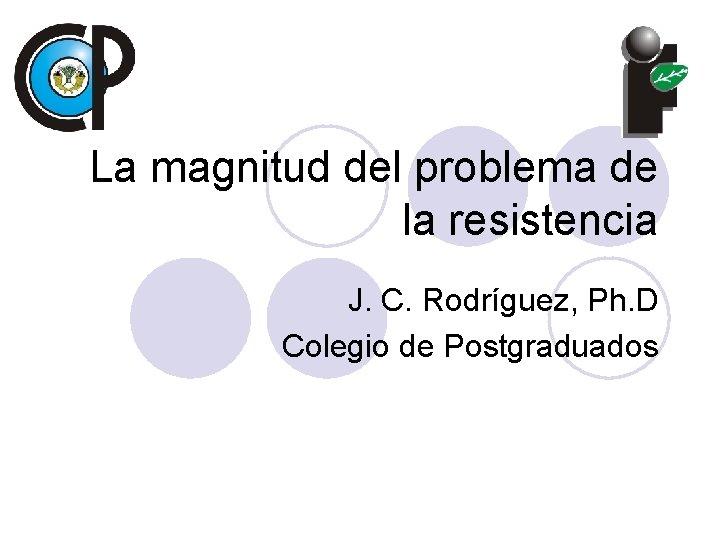 La magnitud del problema de la resistencia J. C. Rodríguez, Ph. D Colegio de