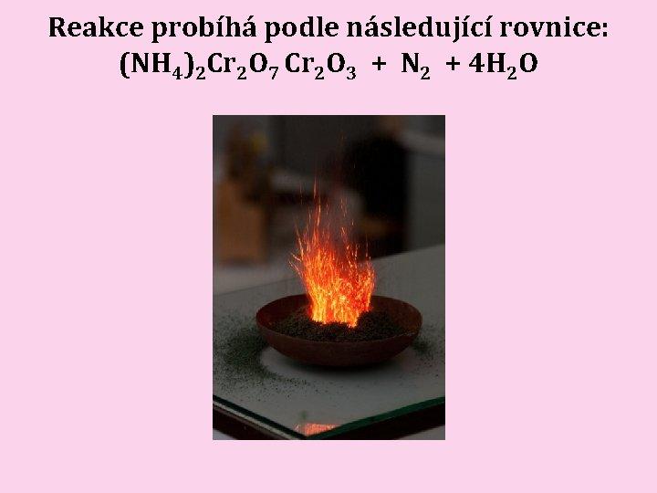 Reakce probíhá podle následující rovnice: (NH 4)2 Cr 2 O 7 Cr 2 O