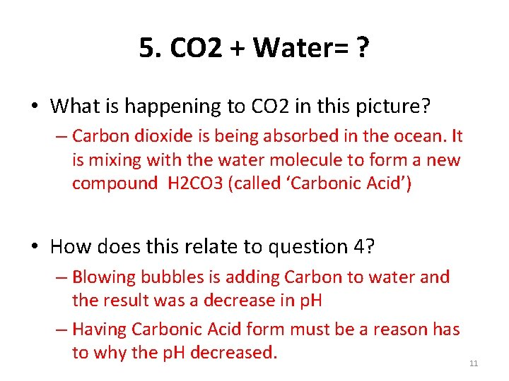 5. CO 2 + Water= ? • What is happening to CO 2 in