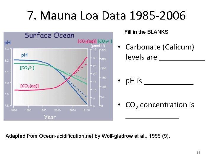 7. Mauna Loa Data 1985 -2006 Fill in the BLANKS • Carbonate (Calicum) levels