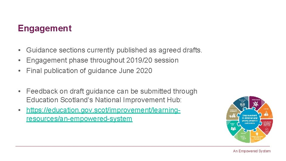 Engagement • Guidance sections currently published as agreed drafts. • Engagement phase throughout 2019/20