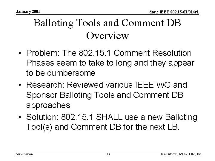 January 2001 doc. : IEEE 802. 15 -01/014 r 1 Balloting Tools and Comment