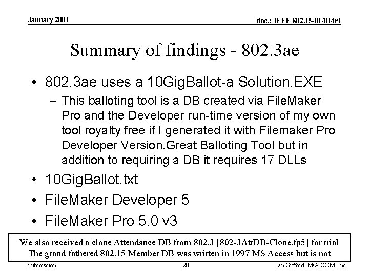January 2001 doc. : IEEE 802. 15 -01/014 r 1 Summary of findings -
