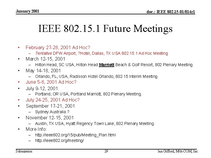 January 2001 doc. : IEEE 802. 15 -01/014 r 1 IEEE 802. 15. 1
