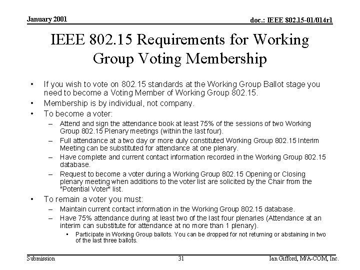January 2001 doc. : IEEE 802. 15 -01/014 r 1 IEEE 802. 15 Requirements
