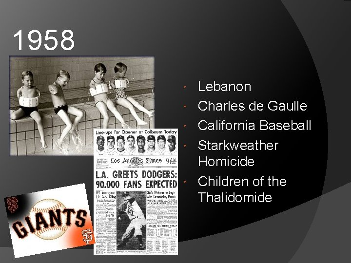 1958 Lebanon Charles de Gaulle California Baseball Starkweather Homicide Children of the Thalidomide