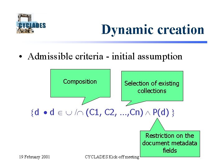 Dynamic creation • Admissible criteria - initial assumption Composition Selection of existing collections d