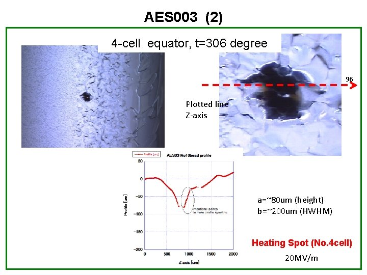 AES 003 (2) 4 -cell equator, t=306 degree 96 Plotted line Z-axis a=~80 um