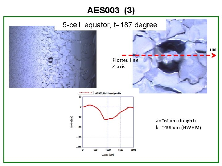 AES 003 (3) 5 -cell equator, t=187 degree 100 Plotted line Z-axis a=~60 um