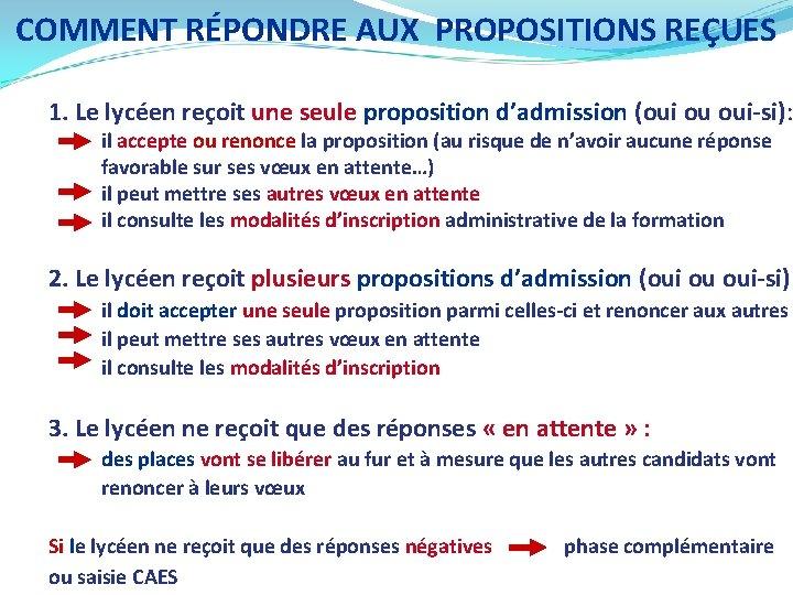COMMENT RÉPONDRE AUX PROPOSITIONS REÇUES 1. Le lycéen reçoit une seule proposition d'admission (oui