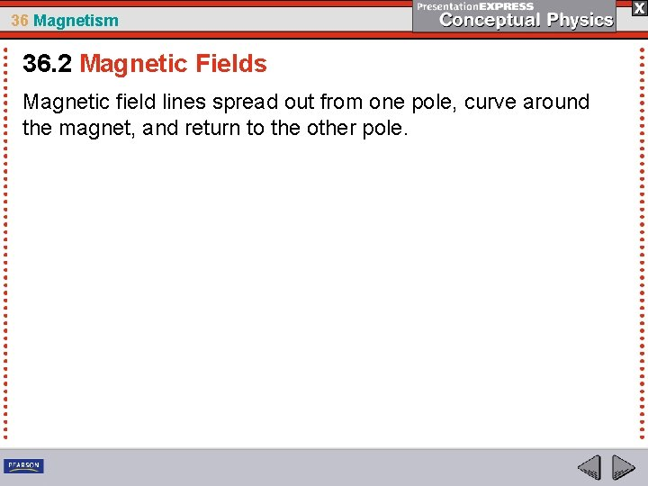 36 Magnetism 36. 2 Magnetic Fields Magnetic field lines spread out from one pole,