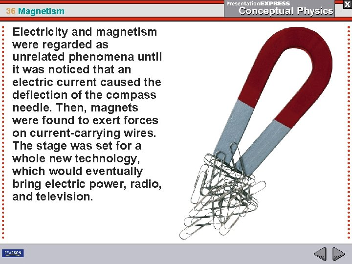 36 Magnetism Electricity and magnetism were regarded as unrelated phenomena until it was noticed