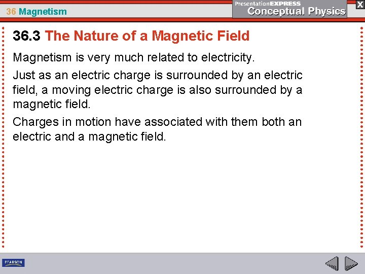 36 Magnetism 36. 3 The Nature of a Magnetic Field Magnetism is very much