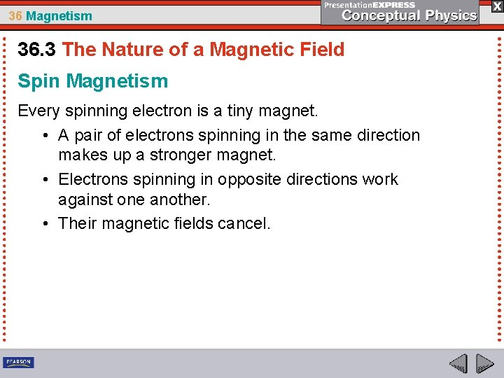 36 Magnetism 36. 3 The Nature of a Magnetic Field Spin Magnetism Every spinning