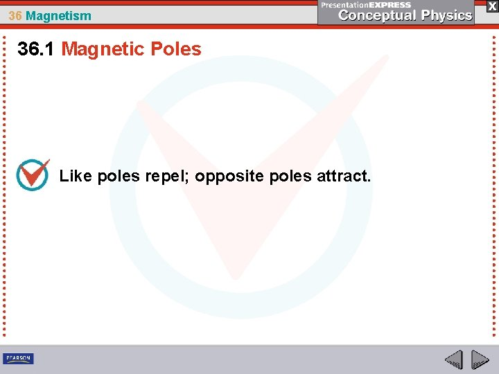 36 Magnetism 36. 1 Magnetic Poles Like poles repel; opposite poles attract.